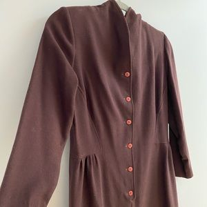 Vintage 100% Brown Buttoned Down Dress Size S/M